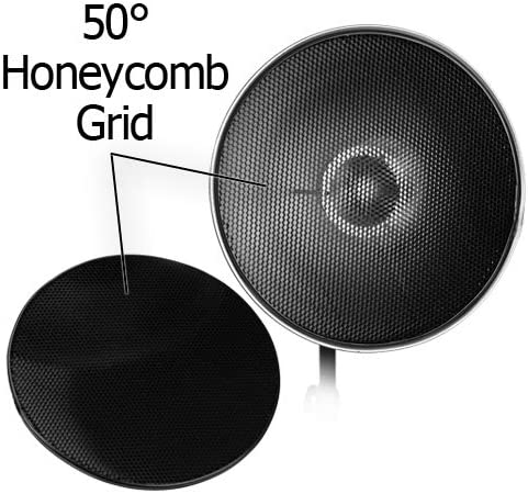 Fotodiox Pro Beauty Dish 28 with Honeycomb Grid and Speedring for Profoto Compact Lights Series Strobe