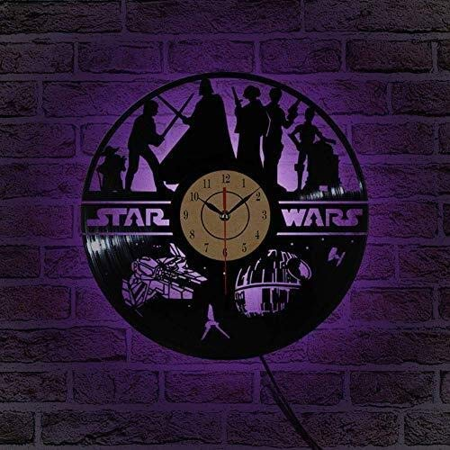 MGE UPS Systems Wall Clock, Wall Clock Star Wars Vinyl Record Design 7 Color Changing LED Wall IllusionVeilleuse Best Gift with Remote for
