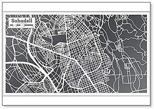 Sabadell España City Map In Retro Style – Imán para nevera: Amazon.es: Hogar
