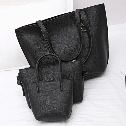 TPulling Weiche Art Und Weise Herbsttasche Damen Dreiteilige PU-Leder-Litschi-Schultertasche + Griff-Tasche + Tasche (Schwarz)
