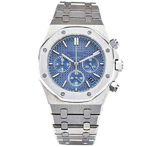 (Parnis 48mm White Dial Sapphire Glass Multifunction Chronograph Function Luminous Pointer 30M Water Resistance Stainless Steel Band Japanese Quartz Movement Men's Watch (Blue Dial))