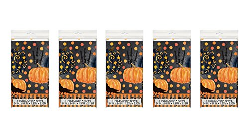 5 Pieces Plastic Painted Pumpkin Halloween Table Cover, 84