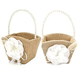 Awtlife 2PCS Burlap Flower Girl Basket Pearl Handle For Vintage Rustic Wedding Ceremony