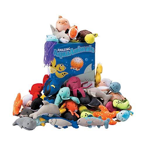 Fun Express - Plush Mini Sea Life Assortment - Toys - Plush - Stuffed Aquatic & Arctic - 50 Pieces
