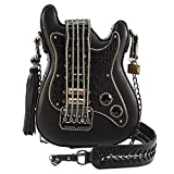 Mary Frances Turn It Up Embellished Guitar Crossbody Handbag,black,One Size