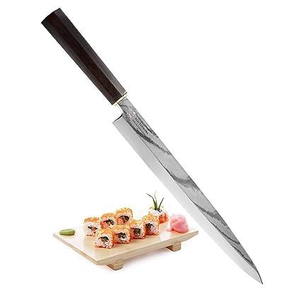 TUO Yanagiba Cuchillo Para Sushi Profesional Cuchillo Japonés - VG10 Japonés 34 Capas Acero de Damasco & Acero Inoxidable de Alto Carbón & Mango ...