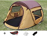 Luxetempo 2 Person Pop Up Camping Tent for Recreation Seconds Setup Tent-2 Doors 2 Windows Mesh Ceiling with Rainfly Brown