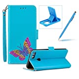 Strap Leather Case for Huawei Y9 2018,Blue Wallet Flip Case for Huawei Y9 2018,Herzzer Classic Premuim Handmade Butterfly Pattern Shockproof Magnetic Card Slots Stand PU Leather Case with Soft Silicone