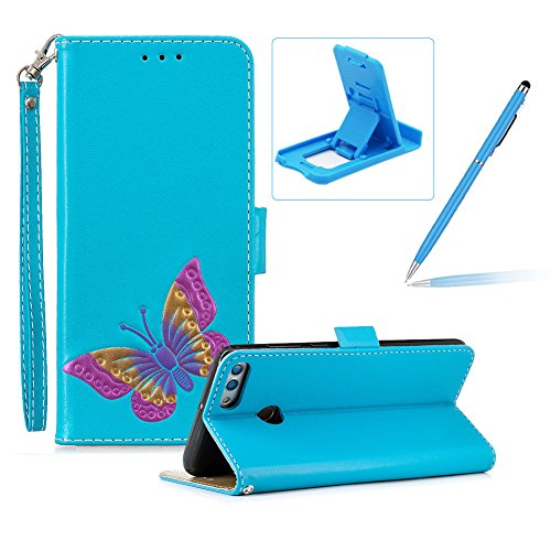 Strap Leather Case for Huawei Y9 2018,Blue Wallet ...