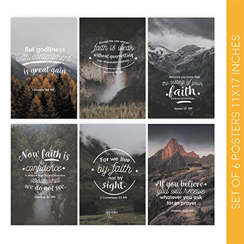 Bible Verse Wall Art | Six 11X17 Bible Verse Posters | These Christian Wall Decor Decorative Prints Come with Sticky Squares for Easy Installation | Religious Gifts, Scripture Wall Art for Home