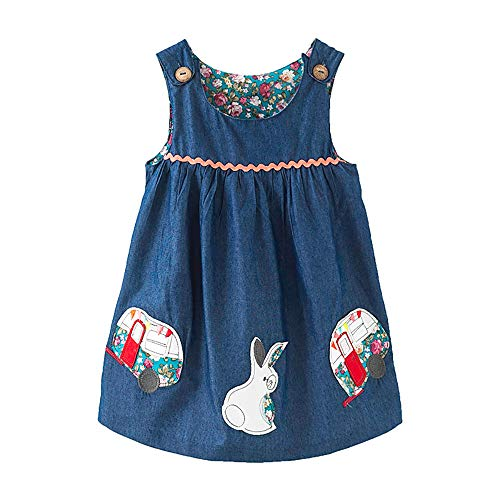 Little Girls Summer Casual Dress - Flower/Unicorn/Easter Bunny Toddler Cotton Outfit Size -