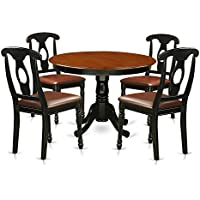 East West Furniture HLKE5-BCH-LC 5Piece Hartland Set with One Round 42in Kitchen Table & Four Dinette Chairs with Leather Seat in a Linen White Finish, Black