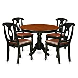 East West Furniture HLKE5-BCH-LC 5Piece Hartland Set One Round 42in Kitchen Table & Four Dinette Chairs Leather Seat in a Linen White Finish, Black Review