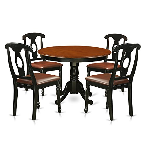 East West Furniture HLKE5-BCH-LC 5Piece Hartland Set with One Round 42in Kitchen Table & Four Dinette Chairs with Leather Seat in a Linen White Finish, Black Collection 5 Piece Pedestal Table