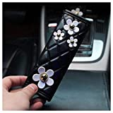 LuckySHD Black Pu Leather Auto Car Handbrake Cover with Daisy Flower Decor Parking Cover Stick Car Accessory