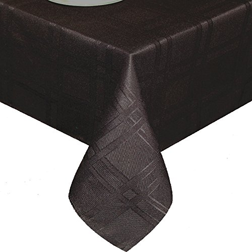 UFRIDAY Microfiber Polyester Tablecloth Plaid Waterproof and Wrinkle-Free, Stain-Resistant Cloth Table Cover Black for Dining Table Everyday Use Machine Washable, Rectangle, 60 inches by 84 inches