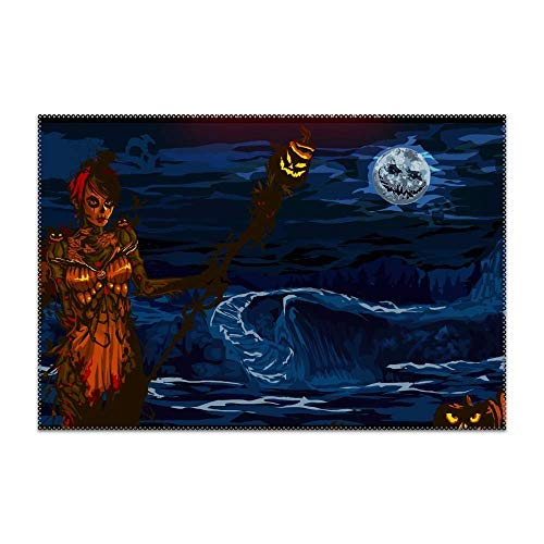 (KRDFbxh Washable Easy to Clean Holiday Halloween Guild Wars Placemat for Kitchen Table Heat-resistand Table Mats 12x18 inches 4)