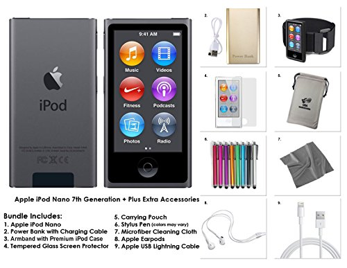 Apple iPod Nano 8th Generation, 16GB- Space Grey + Extra Accessories Package *LATEST MODEL Released July, 2015* (Nano 16 Ipod)