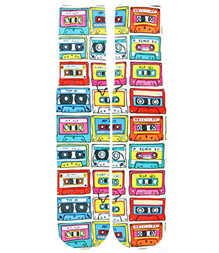 Mens Crazy Fun Cool 3D Print Colorful Athletic Novelty Crew Tube Sock,Music Tape