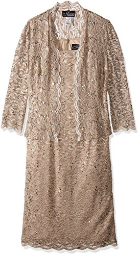 Alex Evenings Women's Two-Piece Set with Dress and Jacket – 18 Plus, Champagne