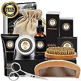 XIKEZAN 8 in 1 Mens Gifts for Men Beard Grooming Kit w/Free Shaving Cream+ Unscented Beard Growth Oil+Beard Moisturiser Balm+Beard Brush+Beard Comb+Beard Scissor+Travel Bag+Gift Box for Beard Care