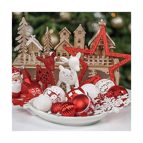 Victor's Workshop Addobbi Natalizi 100 Pezzi di Palline di Natale, Oh Cervo Rosso e Bianco Infrangibile Ornamenti di Palla di Natale Decorazione per la Decorazione Dell'Albero di Natale 7 spesavip