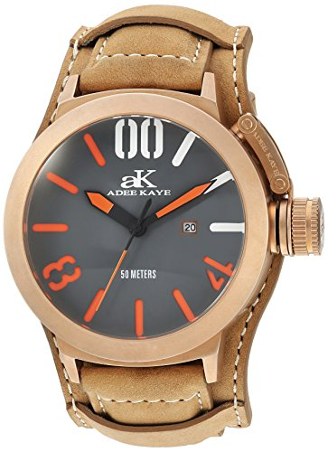 Adee Kaye Men's Quartz Stainless Steel and Leather Dress Watch, Color: (Model: AK7285-RG/GRY-TAN-Wide)
