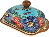"""Polish Pottery Butter Dish - """"Eva's Collection"""" Blue Sky Meadow"""