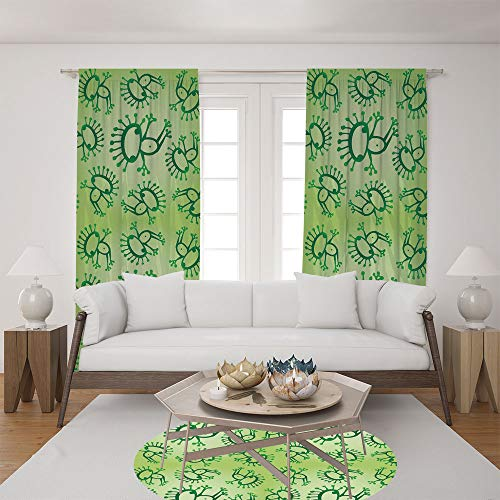 2 Panel Set Satin Window Drapes Living Room Curtains and Round Rug 35.4 inches,Alien Frogs Fantasy Theme Watercolors Cartoon Like,The perfect combination of curtains and Round Rug makes your living ro - Classic Accents Friendly Frogs