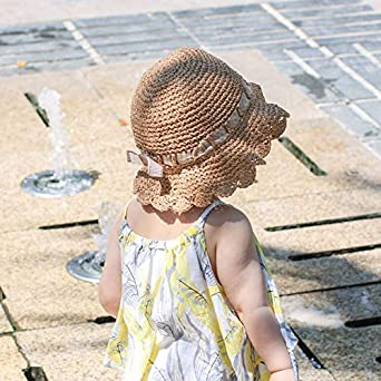 Baby Girls Summer Straw Hat Floppy Foldable Beach Sun Protection Hat with Wide Brim//Handmade Straw Hat for Little Girl