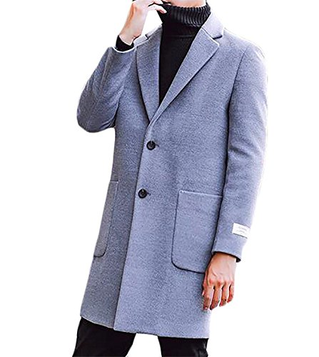 Anxiety Fashion Men's Turn-Down Collar Double-Breasted Winter Trench Coat
