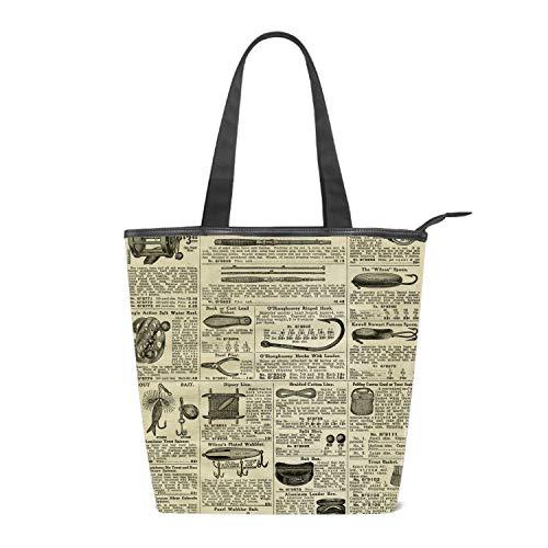 Women Canvas Shoulder Bag, Old Newsprint Bag Casual Handbag Shopping Bag Travel Beach Tote Bag for Women Ladies Girls