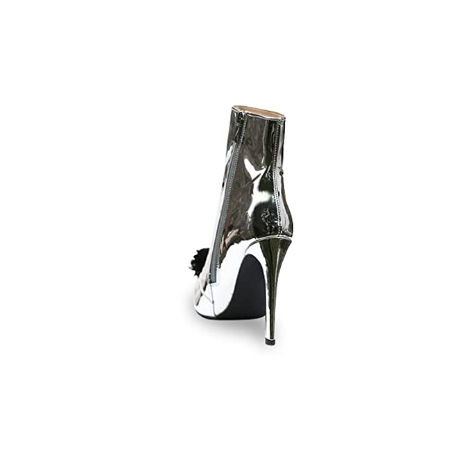28db1654e47a Mifani-Silver Patent Pom Pom Boot  Amazon.co.uk  Shoes   Bags