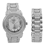 Bling Bling Mens Hip Hop with Class Watch and Matching Bracelet in Elegant Gift Box - 8479B Silver