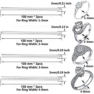 Set of 12 Ring Size Adjuster with 4 Sizes Clear Ring Sizer Resizer Fit for Loose Rings(2mm/3mm)