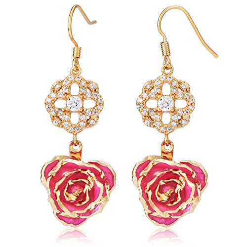 ZJchao Flower Dangle Earrings for Women 24K Gold Dipped Rose Indian Drop Earrings Jewelry for Her Birthday Gift - Earrings 24k Chain