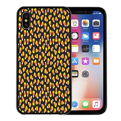 Semtomn Phone Case for Apple iPhone Xs case,Orange Autumn Candy Corn Pattern Halloween Yellow Treat Trick Black for iPhone X Case,Rubber Border Protective Case,Black ()