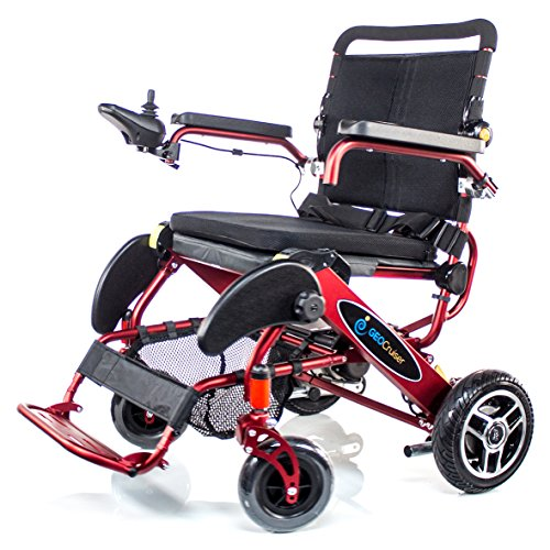 Geo Cruiser DX Lightweight Compact Folding Lithium Electric Power Wheelchair RED