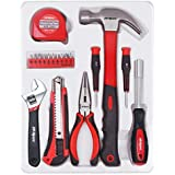 Hi-Spec 18 Piece Household Tool Set of Hands Tools, Claw Hammer, Precision Screwdrivers, Adjustable Wrench, Needle Nose Pliers, Tape Measure for Picture Hanging, Decorating, Electronics & more