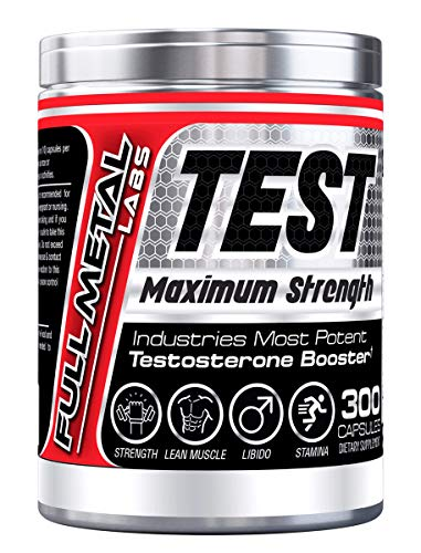 Full Metal Test Booster (300 Capsules) Maximum Strength 3 in 1 Natural Testosterone Booster for Men + Estrogen Blocker + DHEA (1-3 Months Supply) - Increase Muscle Mass, Strength, Stamina & Libido