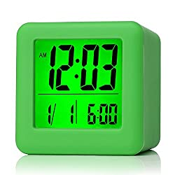 Plumeet Easy Setting Digital Travel Alarm Clock with Snooze, Soft Nightlight, Large Display Time & Month & Date & Alarm, Ascending Sound Alarm & Handheld Sized, Best Gift for Kids (Neon Green)