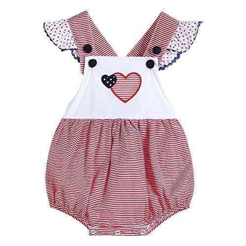 - 32617020096 Rompers Red Stripe & Americana Heart