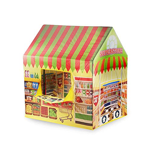 WooyMo 48 PCS Kids Playhouse Tent, Cottage Playhouse Ice Cream and Bakery Shop Play Tent Kids Castle Role Play Toy Easy Assembly Fast Fold for Children, Indoor & Outdoor