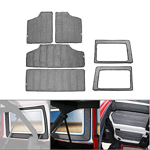 RT-TCZ Grey Heat Insulation Cotton Pad Hardtop Headliner Roof and Rear Window Insulation Kit 2012-2017 for Jeep Wrangler JK JKU 4-Door ()