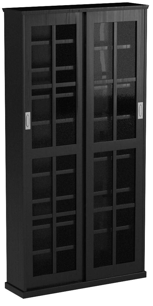 Leslie Dame MS-700B Sliding Glass Mission Style Door CD Storage Cabinet, Black