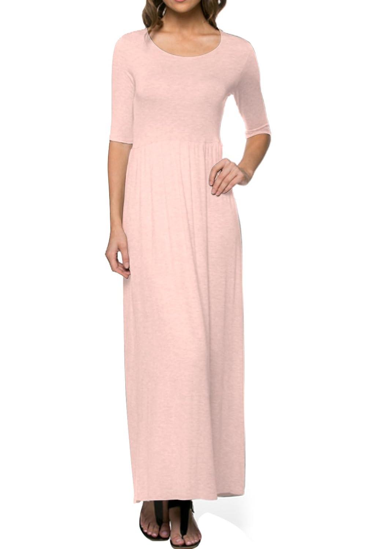 2LUV Women's Shortsleeve, Jersey-Knit Maxi Dress