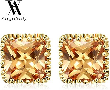 Angelady Jewelry 18K Gold Plated Square Stud Earring Rose Gold Platinum SWA Elements Zirconia Earrings