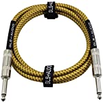 GLS Audio 6 Foot Guitar Instrument Cable - 1/4 Inch TS to 1/4 Inch TS 6-FT Brown Yellow Tweed Cloth Jacket - 6 Feet Pro Cord 6' Phono 6.3mm - SINGLE from GLS Audio