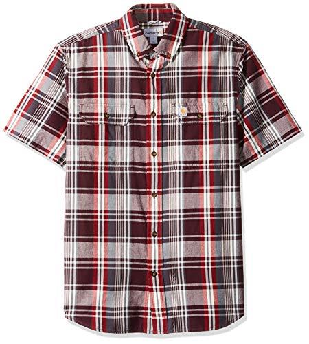 Carhartt Men's Fort Plaid Short Sleeve Shirt, 639-Sun-Dried Tomato, ()