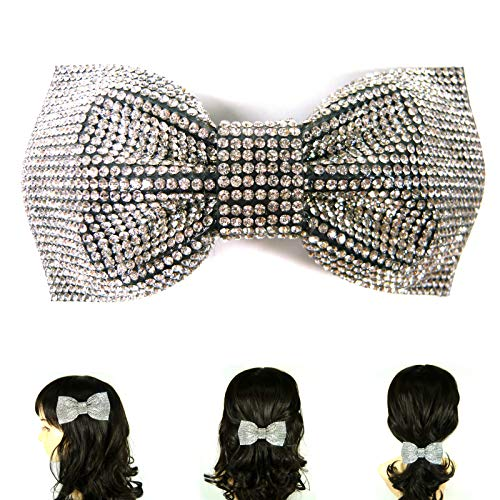 Yourj Women Barrette White Silver Crystal Rhinestone Large Bow Knot Automatic Metal Hair Clip Pin Hairpin Korean Handmade Fashion Accessory ()